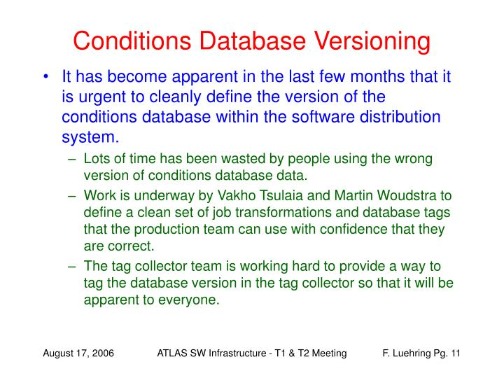 Conditions Database Versioning