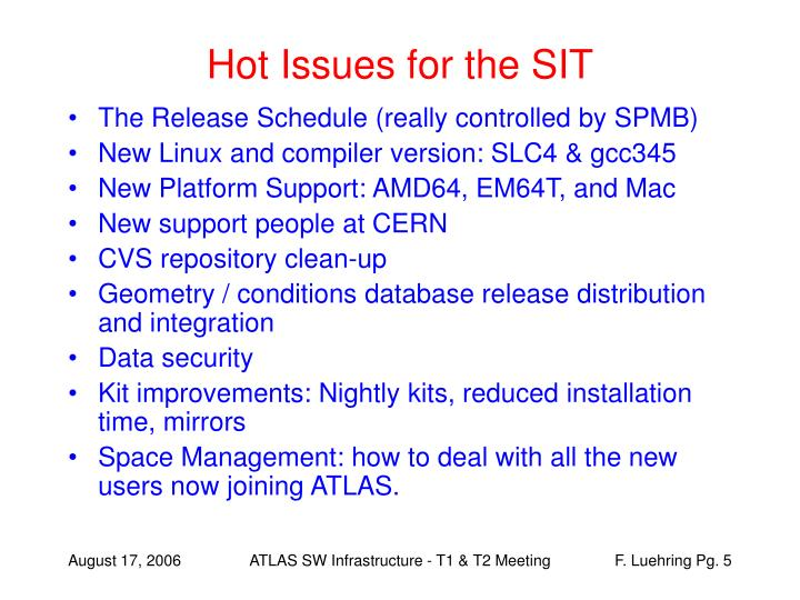 Hot Issues for the SIT