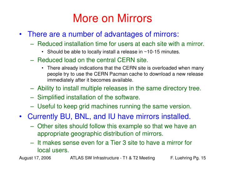 More on Mirrors