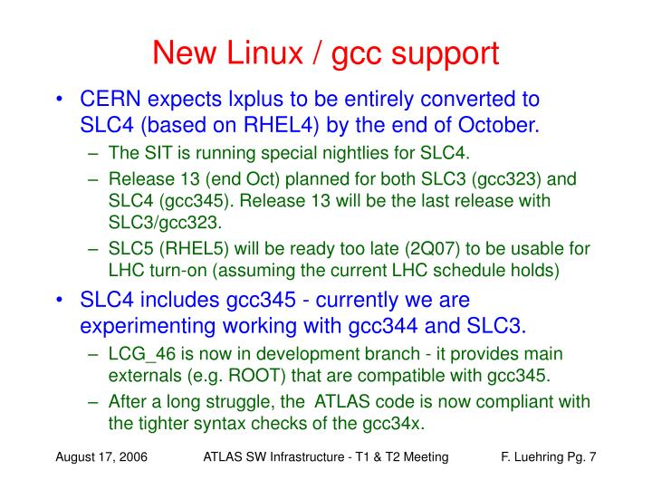 New Linux / gcc support