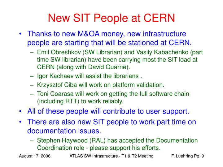 New SIT People at CERN