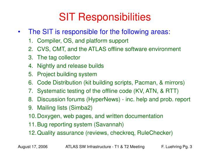 SIT Responsibilities