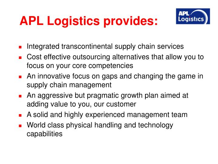 APL Logistics provides: