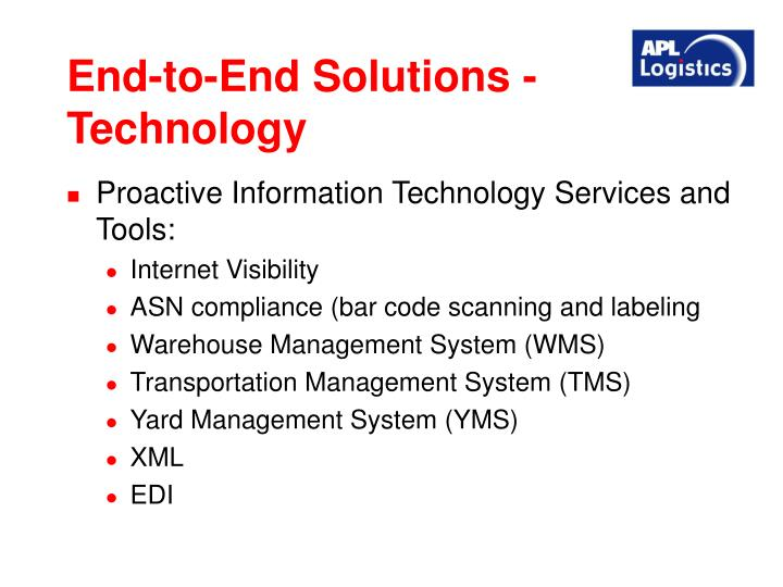 End-to-End Solutions - Technology
