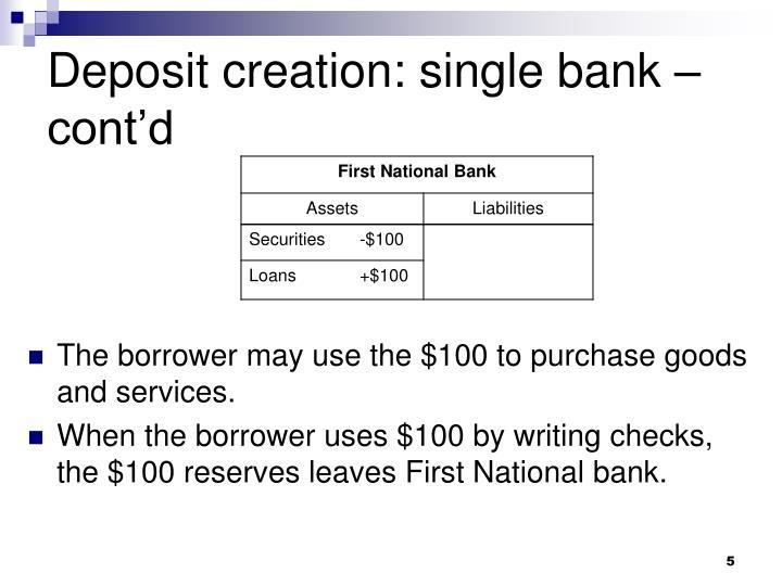 Deposit creation: single bank – cont'd