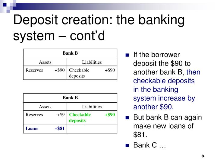 Deposit creation: the banking system – cont'd