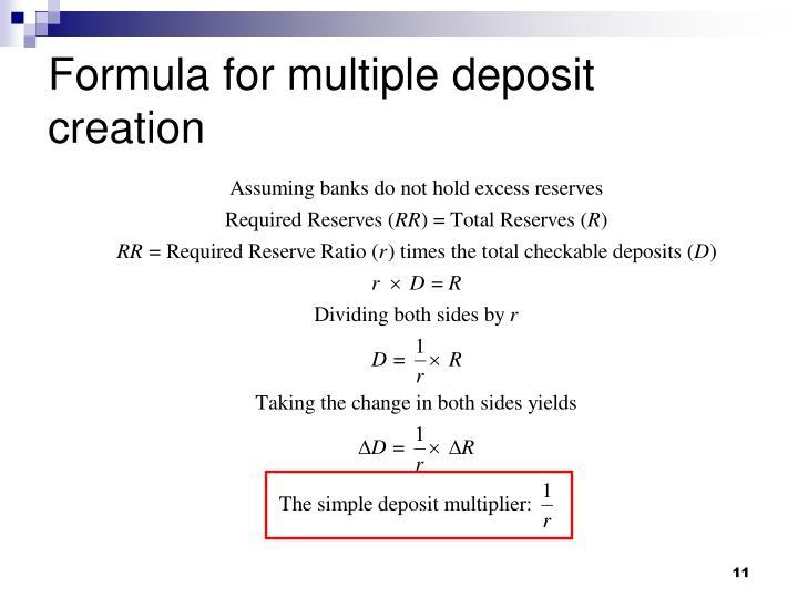 Formula for multiple deposit creation