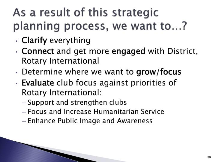 As a result of this strategic planning process, we want to…?