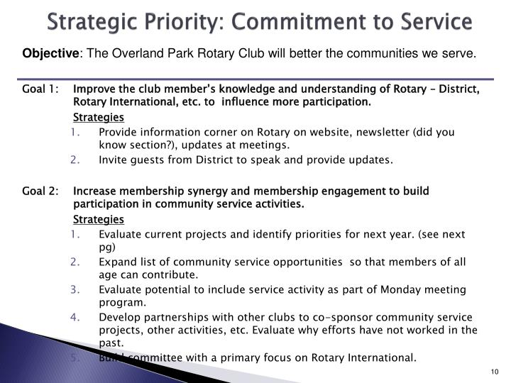 Strategic Priority: Commitment to Service