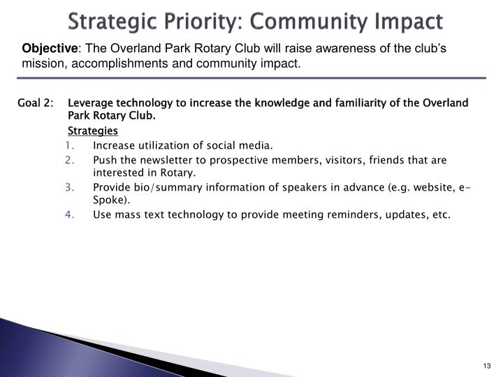 Strategic Priority: Community Impact