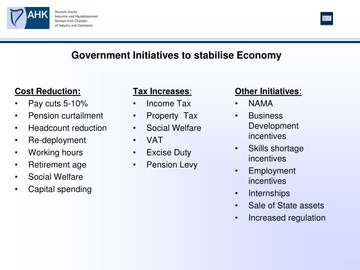 Government Initiatives to stabilise Economy