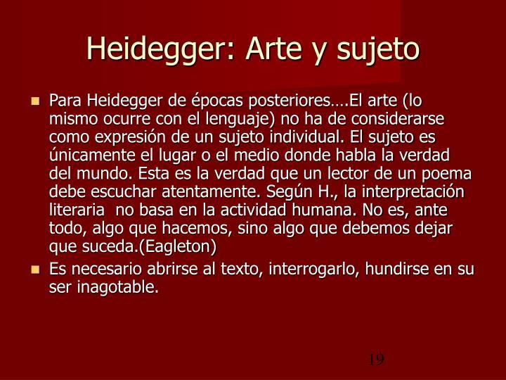 Heidegger: Arte y sujeto