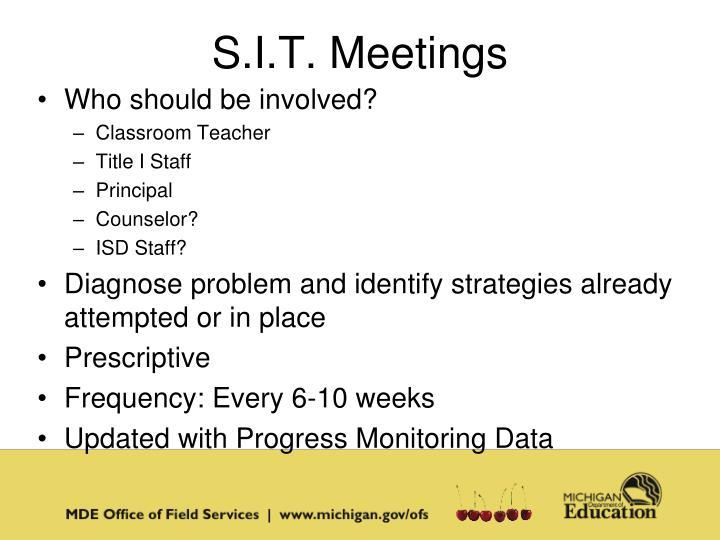 S.I.T. Meetings