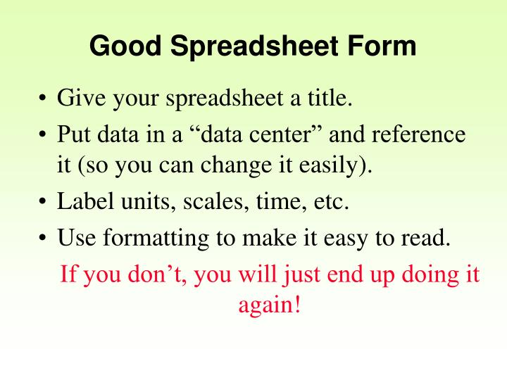 Good Spreadsheet Form