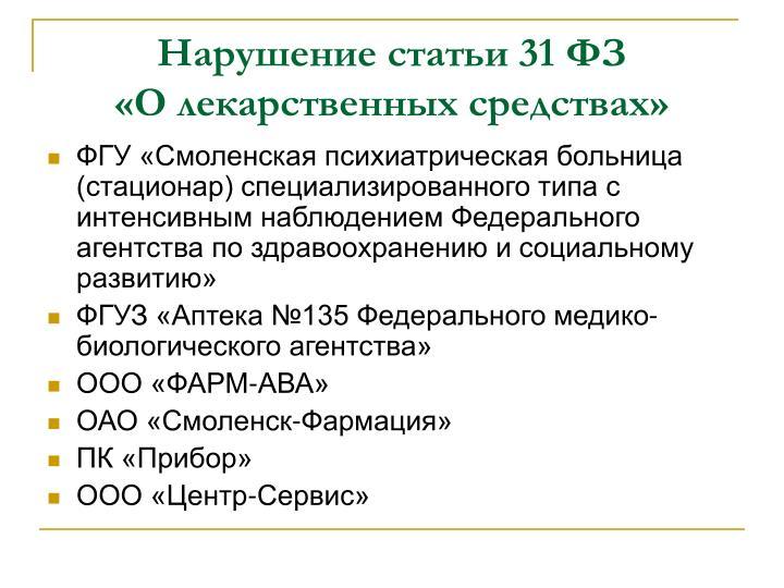 Нарушение статьи 31 ФЗ                 «О лекарственных средствах»