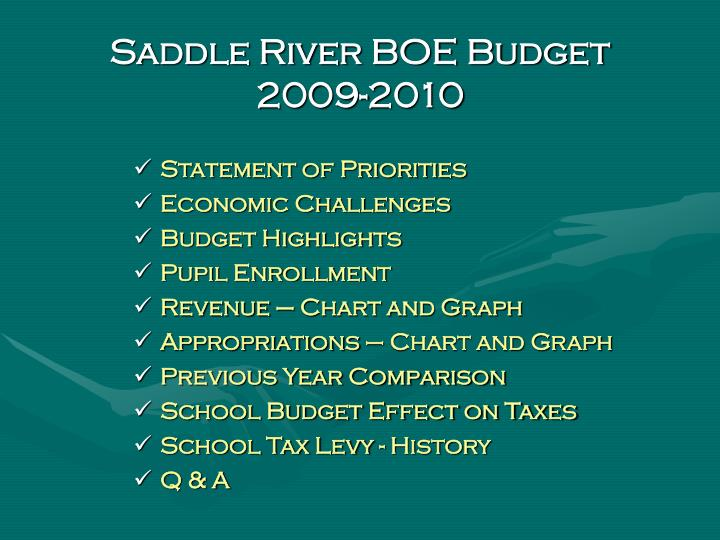 Saddle River BOE Budget