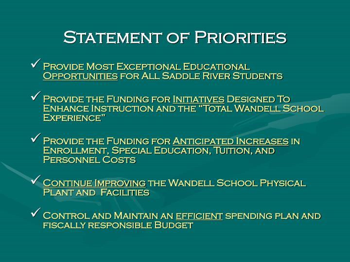 Statement of Priorities