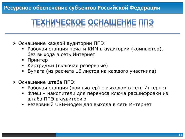 Ресурсное обеспечение субъектов Российской Федерации