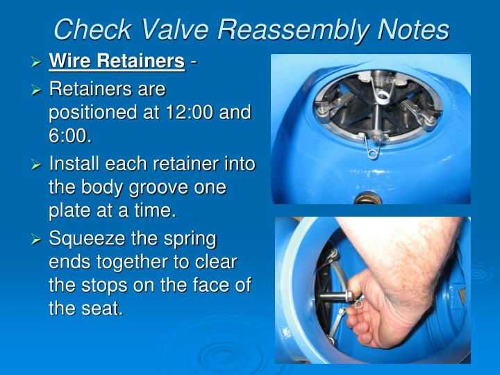 Check Valve Reassembly Notes