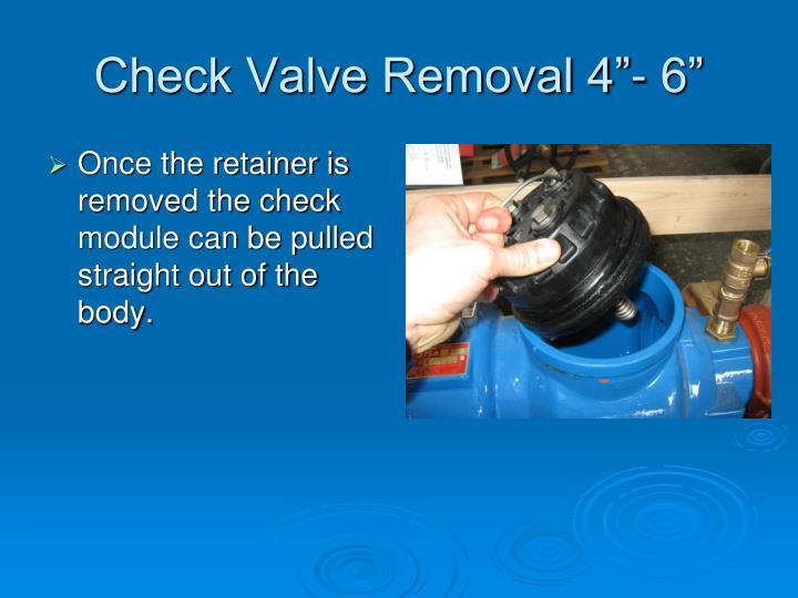 """Check Valve Removal 4""""- 6"""""""