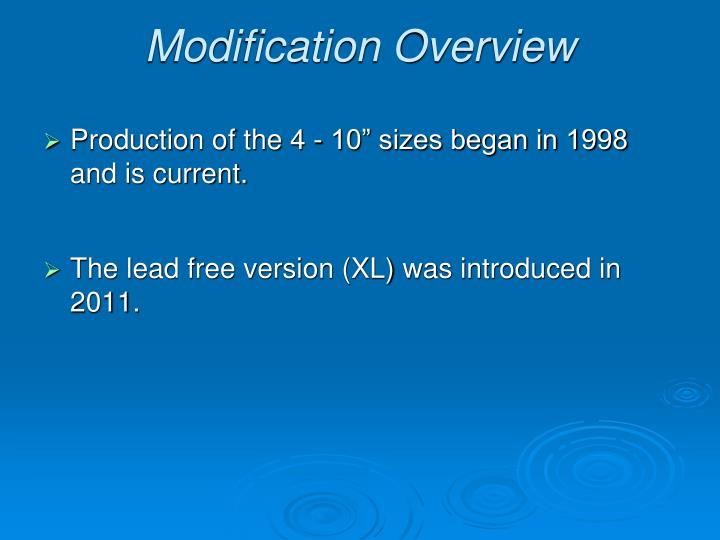 Modification Overview