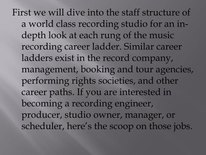 First we will dive into the staff structure of a world class recording studio for an in-depth look a...