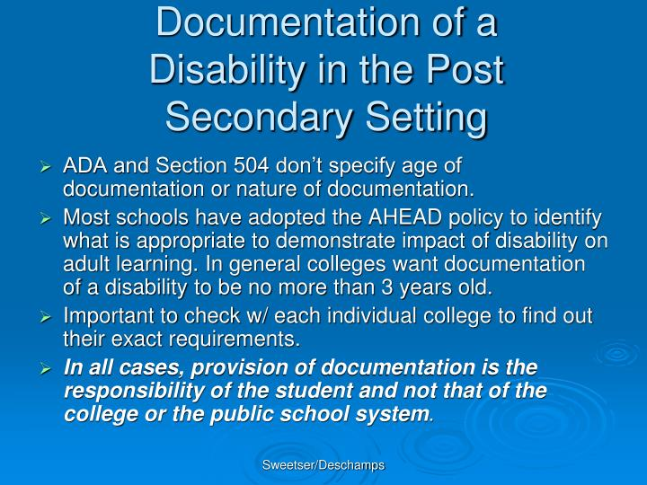 Documentation of a Disability in the Post Secondary Setting