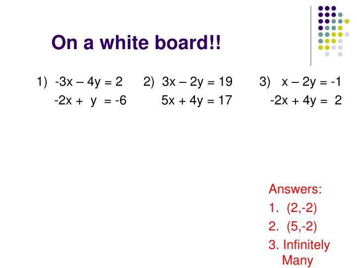 1)  -3x – 4y = 2