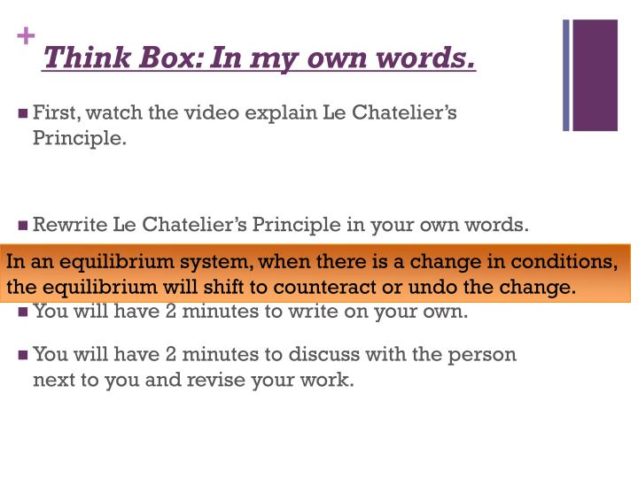 Think Box: In my own words.