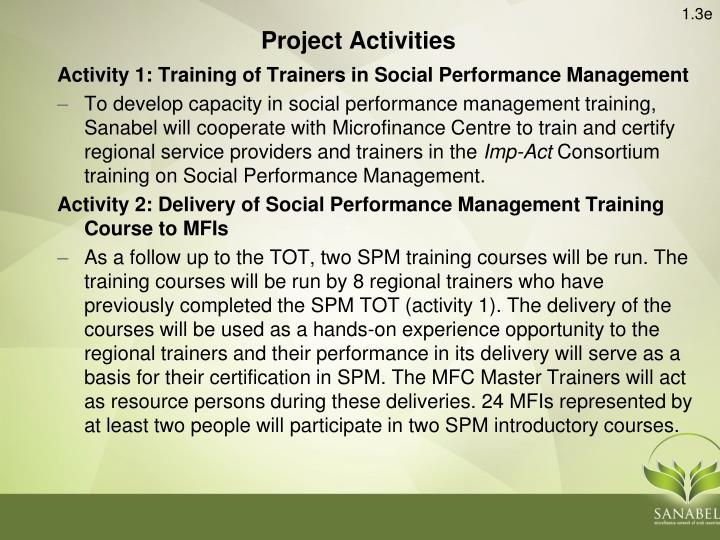 Activity 1: Training of Trainers in Social Performance Management