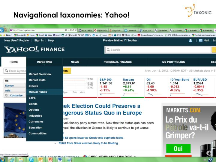 Navigational taxonomies: Yahoo!