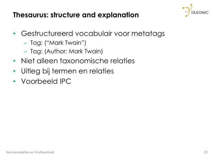 Thesaurus: structure and explanation
