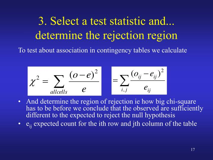 3. Select a test statistic and... determine the rejection region