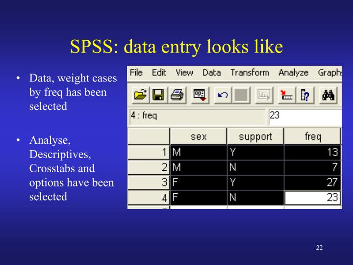 SPSS: data entry looks like