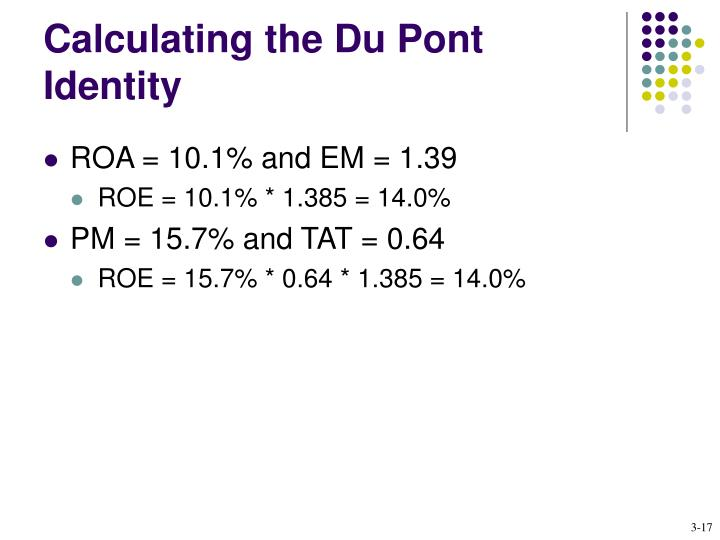 Calculating the Du Pont Identity