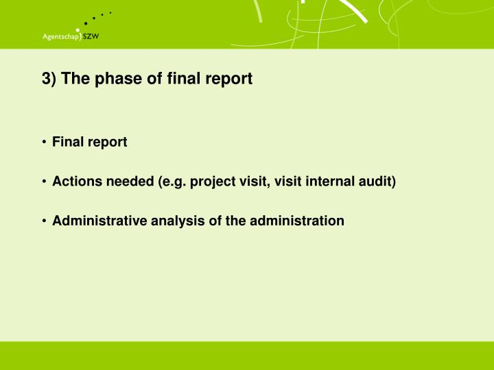 3) The phase of final report