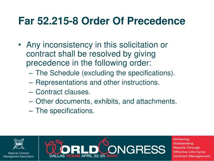 Far 52.215-8 Order Of Precedence