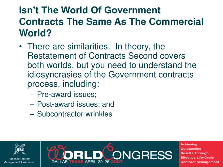 Isn't The World Of Government Contracts The Same As The Commercial World?