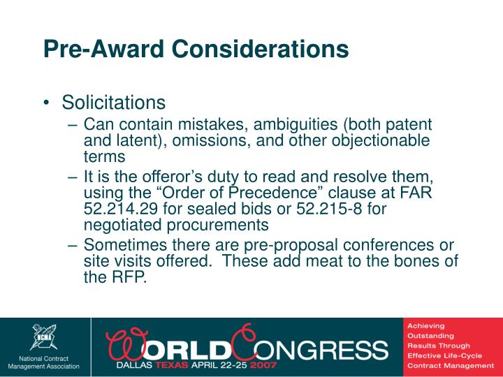 Pre-Award Considerations