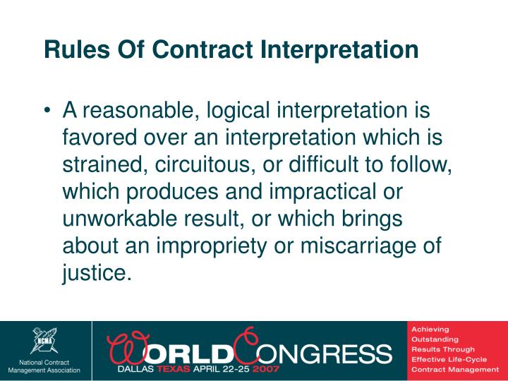Rules Of Contract Interpretation