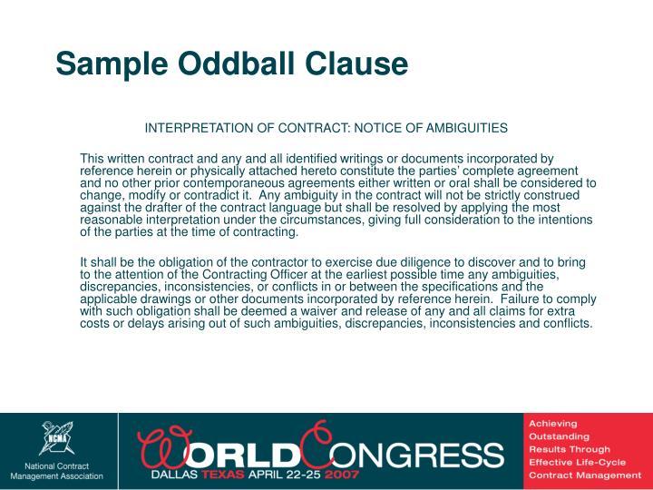 Sample Oddball Clause