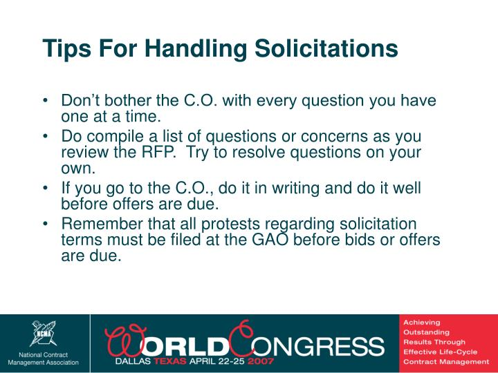 Tips For Handling Solicitations