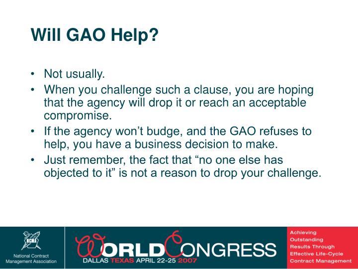 Will GAO Help?