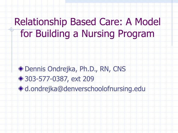 what is relationship based care