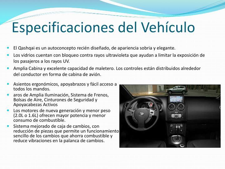 Especificaciones del Vehículo