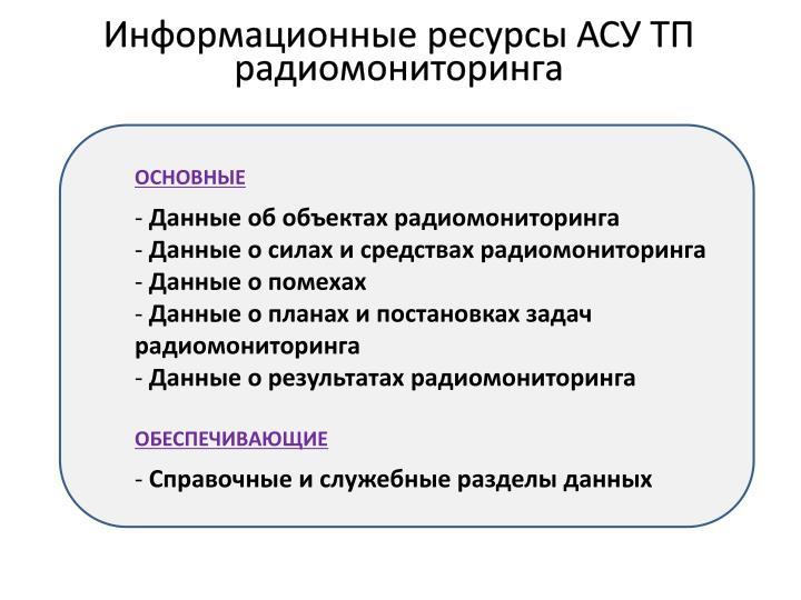 Информационные ресурсы АСУ ТП