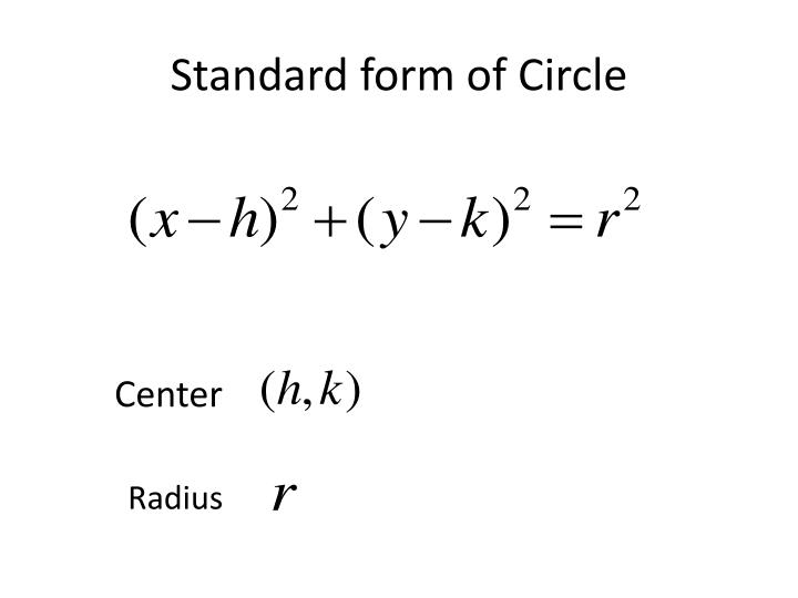 Standard form of circle
