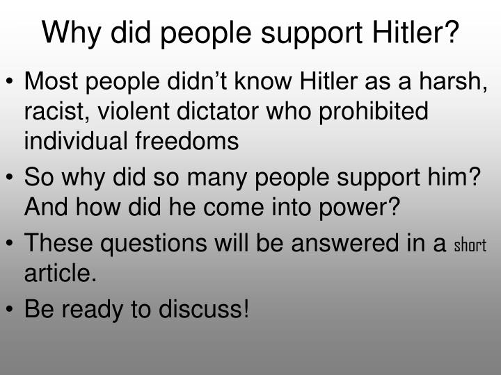 why did hitler become chancellor in 1933 essay On 30th january, 1933, hitler was appointed chancellor of germany by  president hindenburg, but why did he get this prestigious honour – why did hitler .
