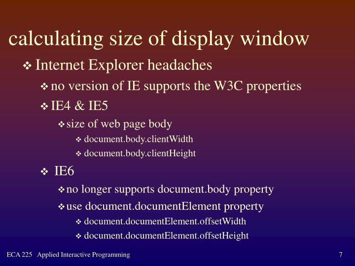 calculating size of display window