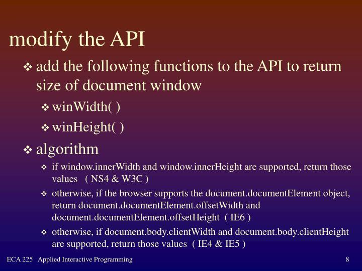 modify the API